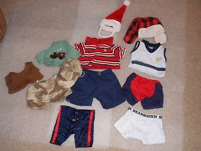 Build a Bear Workshop Lot Boy Military Camo Bearboxer Santa Hat Polo Outfit Lot