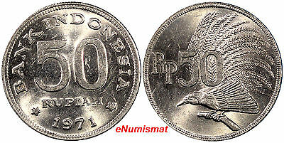 Indonesia 1971 50 Rupiah 24 mm Greater Bird of Paradise KM# 35 (8933)