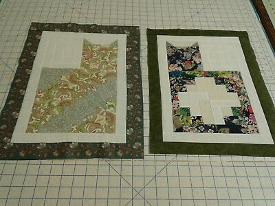 Mini Quilt tops unfinished Log Cabin cats