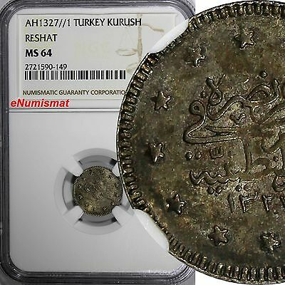 TURKEY Muhammad V Silver AH1327//1 1 Kurush RESHAT NGC MS64 TOP GRADED KM# 748