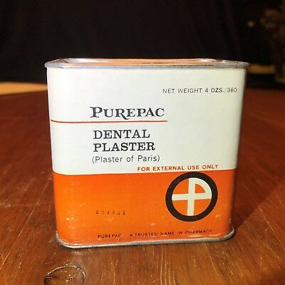 Vintage Purepac Dental Plaster Advertising Tin with Full Contents