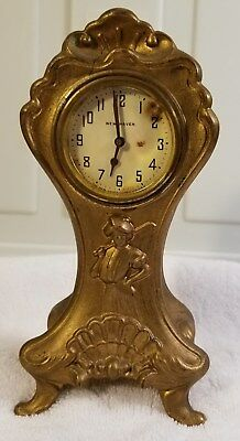 Stunning Art Nouveau Lady Gofer Clock New Haven French Ivory Casing Antique Rare