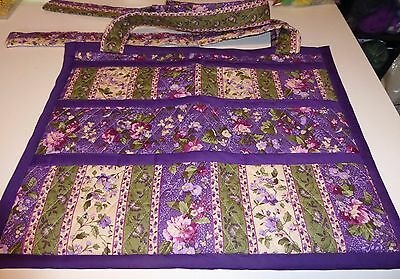 HANDMADE WALKER COVER/BAG W/MANY POCKETS; purple/green