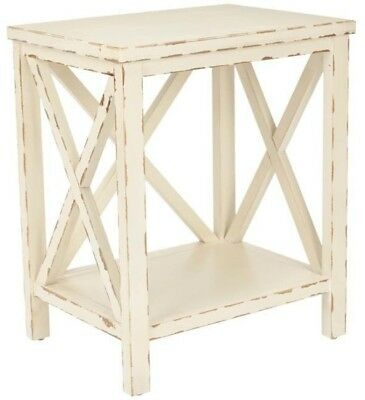 Distressed Ivory End Table Coffee Console End Table