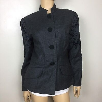 Women's VTG Oscar de la Renta Studio Gray Jacket Blazer 8 100% Wool Embroidered