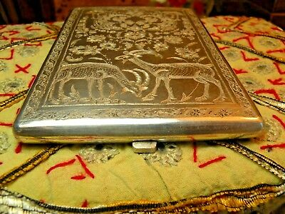 Rare Antique Solid Silver Persian Cig Case, Fantastic Artwork Both Sides, 6 Oz