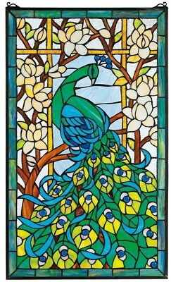 "Peacock Stained Glass Window Panel ~ Hand-Cut Detailed, Vivid Colors, 35"" x 23"""