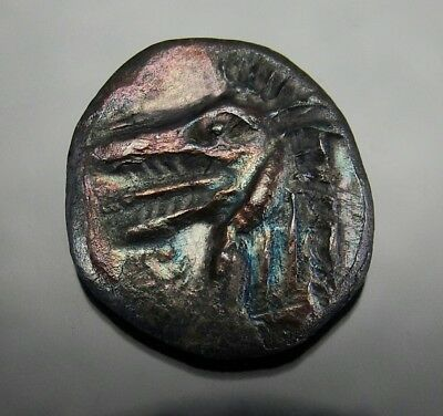 SEA MONSTER KETOS. EXTREMELY RARE in Magnificent rainbow patina.Ancient Greek