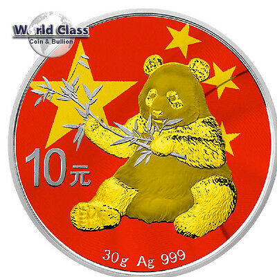2017 .999 fine silver China Flag Panda 24 kt gold gilded