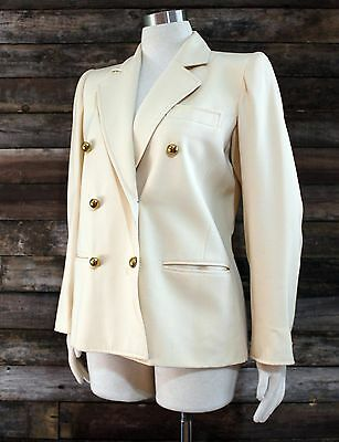 Saint Laurent Rive Gauche Womens Blazer 40 YSL Vintage 80s Fitted Cream Wool