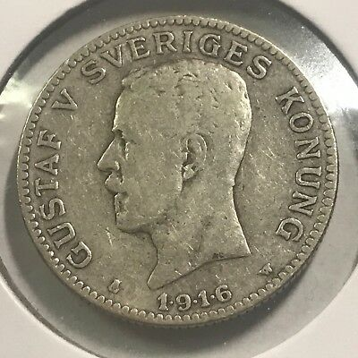 Sweden 1916 One Krona Better Grade Silver Coin