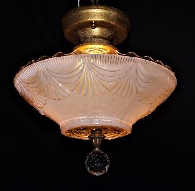 VTG ART DECO ERA SEMI FLUSH GLASS SHADE CEILING LIGHT CHANDELIER FIXTURE  1930's