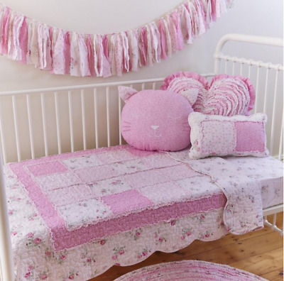 Pink Patchwork Baby Girl Quilt Comforter Coverlet Blanket Cot Sheet Bed Cushion