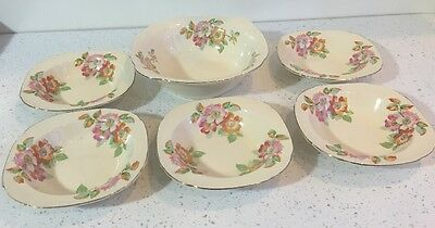 Alfred Meakin Ceramic Floral Art Deco Style Serving Bowl And 5 Dishes