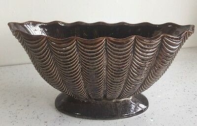 LARGE DARTMOUTH POTTERY OVAL Brown PEDESTAL POSY VASE
