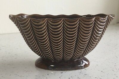 Small DARTMOUTH POTTERY OVAL Brown PEDESTAL POSY VASE