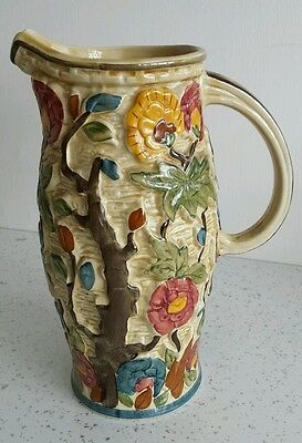. Vintage H J Wood Handpainted Indian Tree Jug / Pitcher 2 Pints