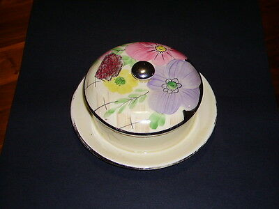 Vintage Arthur Wood Royal Bradwell Art Deco Round Butter Dish with Lid C1954+