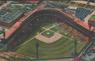 C1940 Cincinnati Reds Baseball Stadium Crosley Field Linen Postcard Excellent
