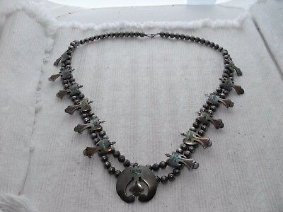 Sterling Silver Squash Blossom Necklace Coral Turquoise Bird Bench Bead Old Pawn