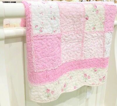 Hamptons Pink Floral Shabby Patchwork Baby Girl Nursery Cot Crib Quilt Coverlet