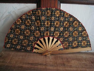 Antique Japanese Cloth and Bamboo Fan