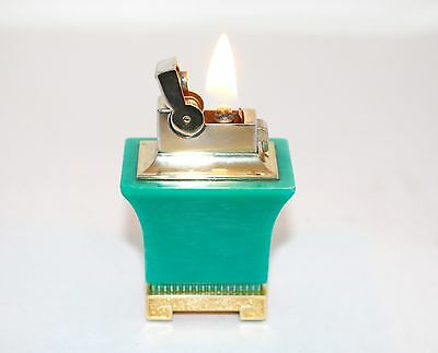 """Vintage Ascot ASR  """"Pagoda Style"""" Green  Table Lighter In Working Condition"""