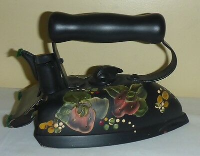 Vintage Electric Clothing Iron Beautifully Hand Painted In Floral Pattern