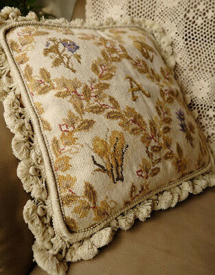"16"" Needlepoint Cushion Beautiful Mediterranean Chic Handmade Oliver Leaf"