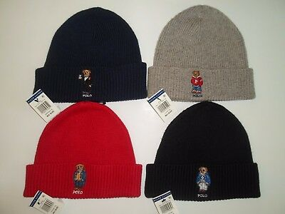41c738234f0e Polo Ralph Lauren Collectable Red Teddy Bear Scarf Beanie Hat Skull Cap Set  NWT