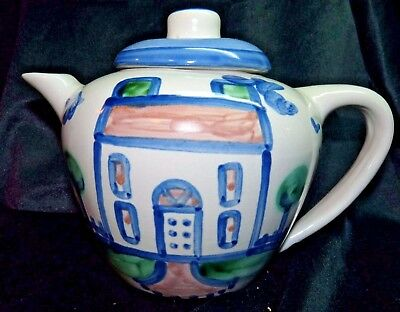 MA HADLEY Country Scenes House Stoneware Teapot 7""