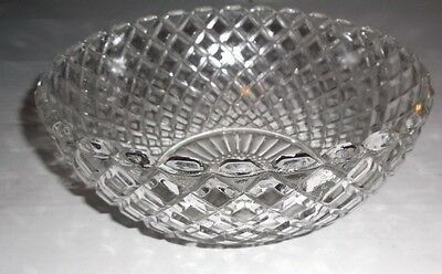 """Anchor Hoc Waterford Waffle Pattern Clear Glass Bowl -  8 1/4"""" Diameter x 3 1/4"""""""