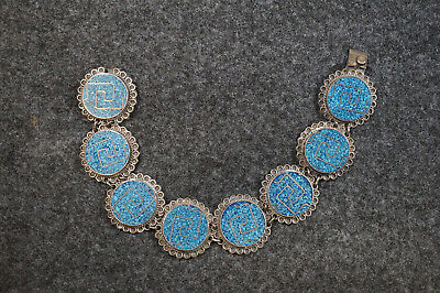 """Vintage Sterling Silver & Turquoise Mexico Bracelet 8"""" Long 43 Grams"""