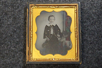 Antique Ambrotype of Young Boy Holding Musical Instrument Violin Sixth Plate