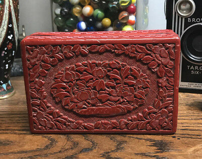 Antique Hand Carved Chinese Cinnabar & Lacquer Box Not a Repoduction