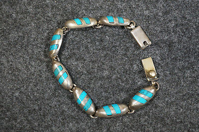 """Vintage Sterling Silver & Turquoise Mexico Bracelet 7 1/4"""" Long 41 Grams"""