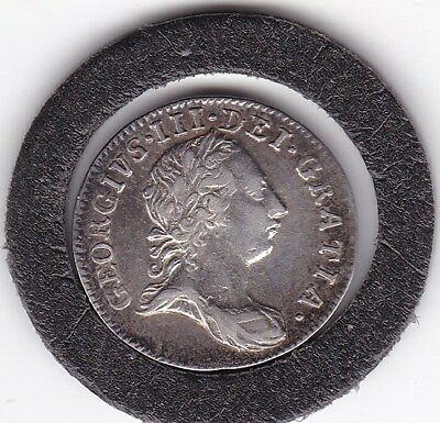 1762  King George  III   Maundy  Three  Pence  (m3d) Silver (92.5%)  Coin