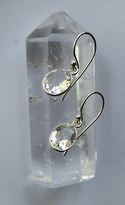 315C Quartz faceted gemstone earrings solid 925 sterling silver rrp$39.95