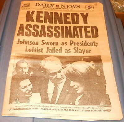 "Vintage New York Daily News November 23, 1963 ""Kennedy Assassinated"""