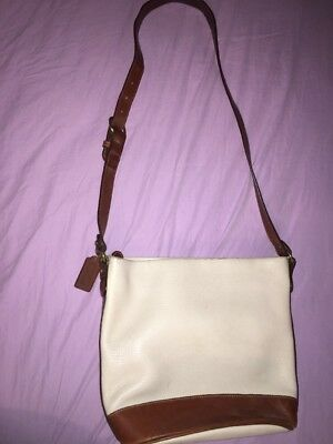 Vintage Coach Cream And Brown Crossbody