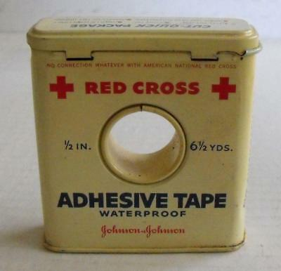 Vintage Tin Red Cross Adhesive Tape Unusual Tin Center Hole