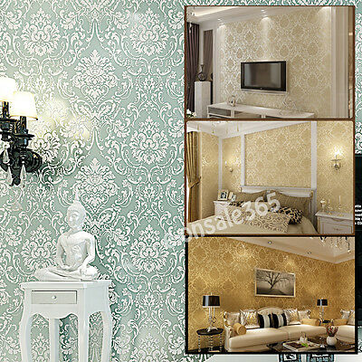 Vintage/Retro Europe Style Damascus Wall Paper Roll Non-woven Floral Mural Cover