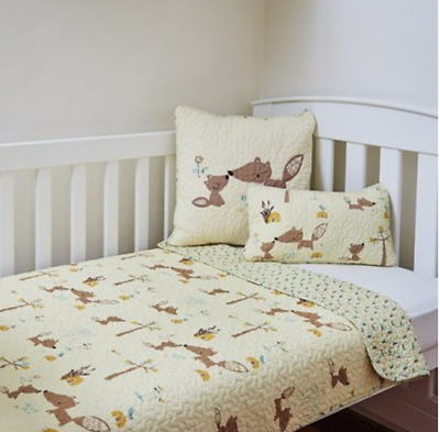 2 Pc Boys Squirrel Cot Crib Quilt Coverlet Baby Blanket & Cushion 100% Cotton