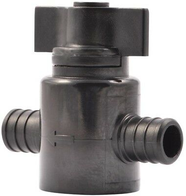 PEX Ball Valve Crimp Fitting Water Supply Shut-Off Black Polymer Plastic 1 Pack