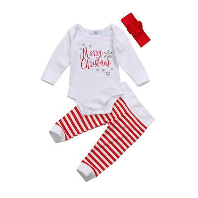 US Stock Toddler Baby Christmas Jumpsuit Romper Long Pants Outfits Clothes Set