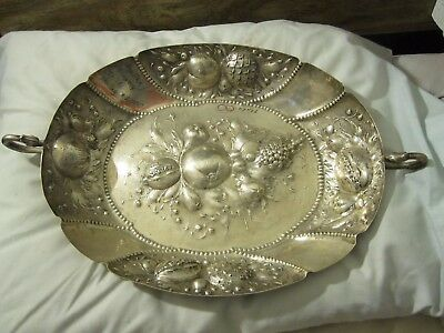 BIG 19th C AUSTRO HUNGARiAN REPOUSSE 800 SiLVER WALL PLATTER TRAY BASKET 19x12x3