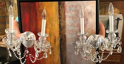 Pair Mid Century Modern Top Quality Chrome & Crystal Wall Sconces