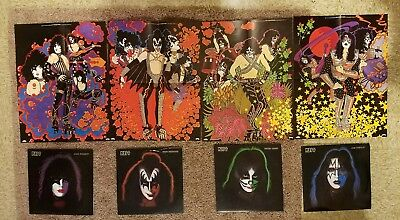 4 KISS RECORDS WITH PUZZLE PIECE POSTER inside EACH!! And KISS live 2 disc.