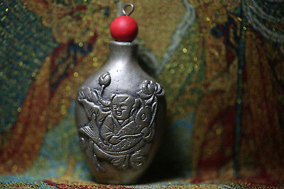Rare Chinese Children and fish bronze snuff bottle X113