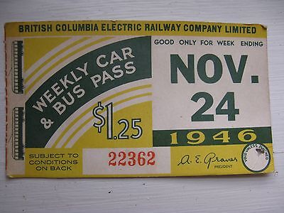 1946 Weekly Car & Bus Pass Vancouver BC Electric Railway Company Ltd.